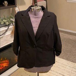Torrid 1 1X XL Black Ruched Sleeve Jacket Blazer